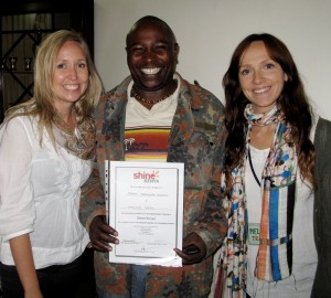 Our good friend George recieving his 'Shine Kenya' certification