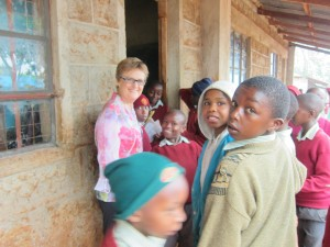 Meg with kids at Kiandu primary